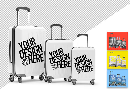 Mockup of 3 Matching Travel Suitcases