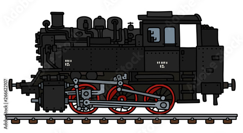 The vectorized hand drawing of an old black tank engine steam