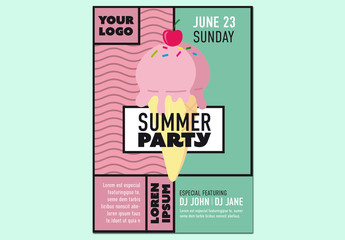 Summer Party Flyer Layout with an Ice Cream Illustration