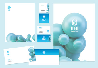 Stationery Set with Spheres and Blue Accents