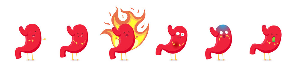 Cute cartoon stomach character emoji set in different positions and emotions collection. Vector organ digestive system ulcer, gastritis, nausea, vomiting, heartburn, puffin, healthy and happy