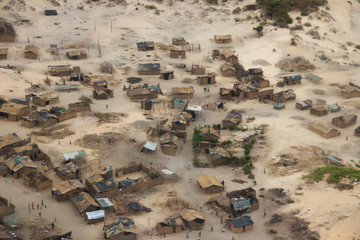 Aftermath Cyclone Idai and Cyclone Kenneth in Mozambique and Zimbabwe, pictures of affected villages taken from helicopter.