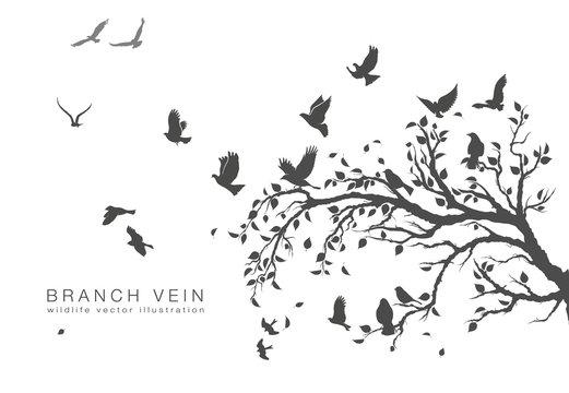 figure flock of flying birds on tree branch