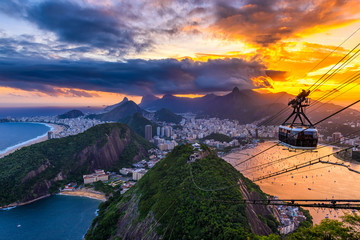 Fototapete - Sunset view of Copacabana,  Corcovado, Urca and Botafogo in Rio de Janeiro. Brazil