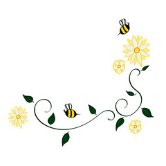 Daisy and Bee Bottom Corner Border