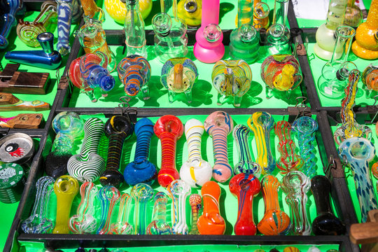 Various types of glass smoking pipes for marijuana for sale.