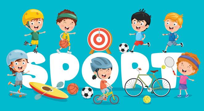Vector Illustration Of Children Sport Background