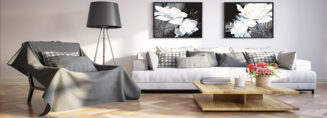 Modern living room interior with paintings (panoramic) - 3d illustration