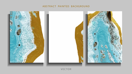 Trend vector. Set of abstract painted background, flyer, business card, brochure, poster. Liquid marble.