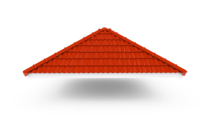 Obraz 3d roof on the white background. 3d rendering,red roof tile isolated on the white background,Tile with structure on the white background.gable roof - fototapety do salonu
