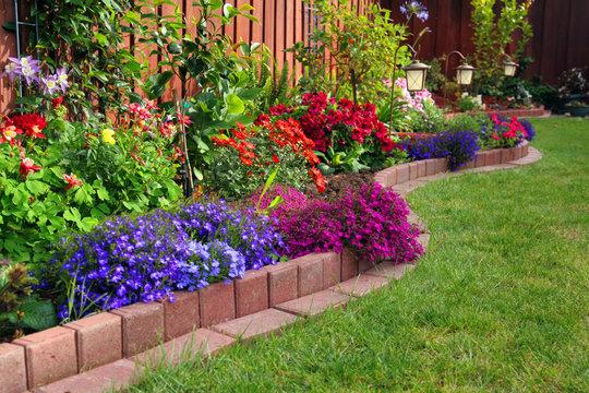 landscaped colorful garden