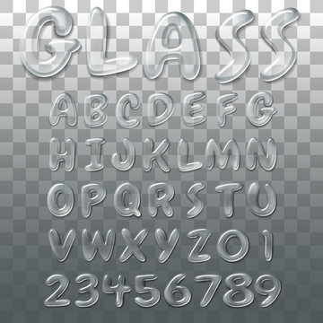 Glass alphabet, jelly and water font