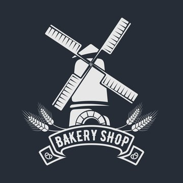 Bakery or bread shop logo, emblem with old Windmill. Vector illustration