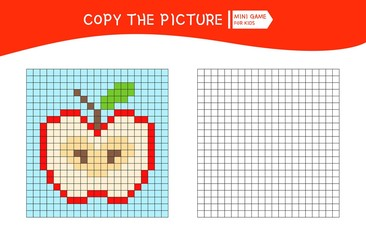 Educational game for children. Copy the picture by grid.