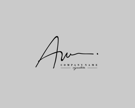 A W AW Signature initial logo template vector
