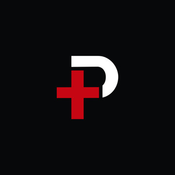 P plus T letter logo vector in red and white