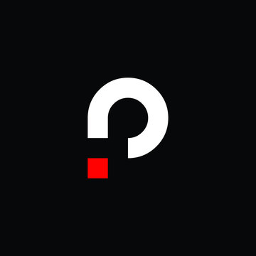 P letter creative logo in red and white vector