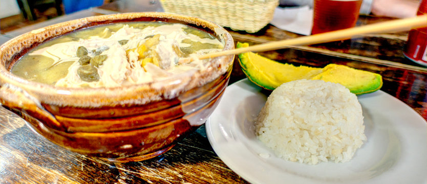 Ajiaco, traditional soup from Bogota