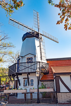 old wind mill in Solvang historic downtown, Santa Ynez Valley in Santa Barbara County