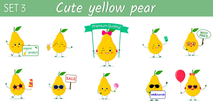 Set of ten cute kawaii yellow pear fruit characters in various poses and accessories in cartoon style. Vector illustration, flat design