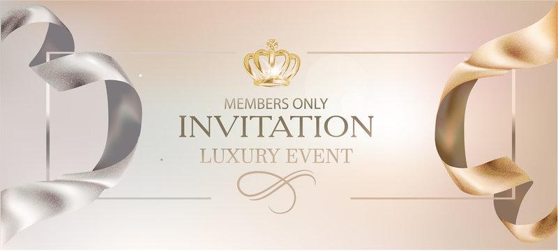 Elegant invitation card with gold curly bibbon