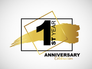 1st golden anniversary icon celebration with frame and hand drawn ink brush gold ribbon. Vector template element for your 1 birthday party poster greeting card on white background and black number.