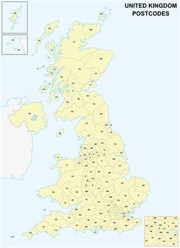 united kingdom Postcodes or postal codes vector map