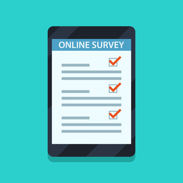Online survey concept for infographics, web banners. Online form on tablet computer. Flat style vector illustration.