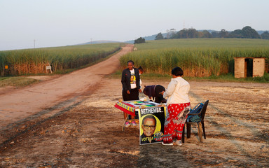 Inkatha Freedom Party agents are seen near a polling station ahead of South Africa's parliamentary and provincial elections in the Farm lands near Eshowe