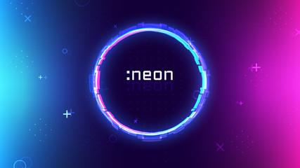 Trendy neon abstract background, memphis geometric texture, ultraviolet neon rave party, vibrant colors gradient, modern wallpaper Fotoväggar