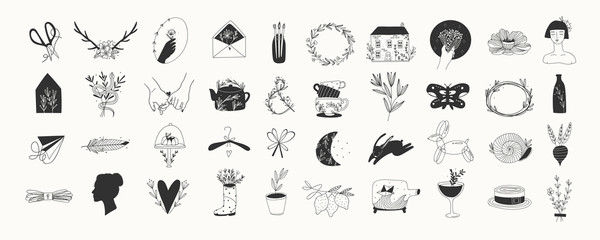 Various simple, elegant and bohemian icons. Hand drawn big vector set. Detecoration for brand or shop logos, wedding albums, web pages, restaurant menus. Design elements. Everything is isolated