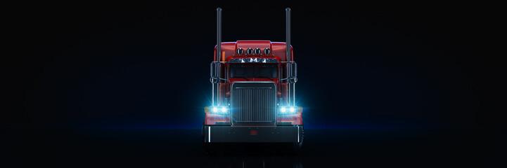 Red heavy truck. 3d rendering Fototapete