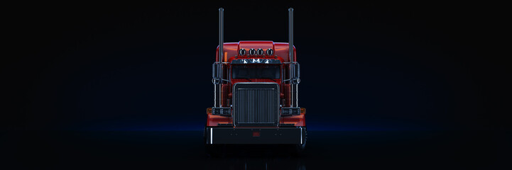 Fototapete - Red heavy truck. 3d rendering