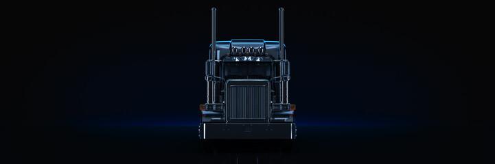 Fototapete - Black heavy truck. 3d rendering