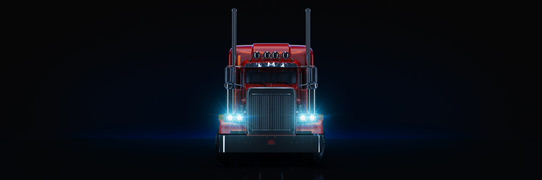 Red heavy truck. 3d rendering