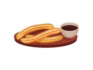 Traditional spanish dessert churros on a wooden tray. Vector illustration on white background.