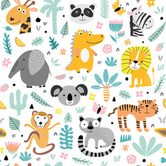 Seamless pattern with cute tropical animals