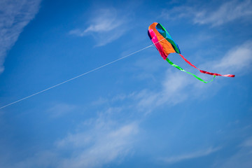 A kite flying against a blue sky.