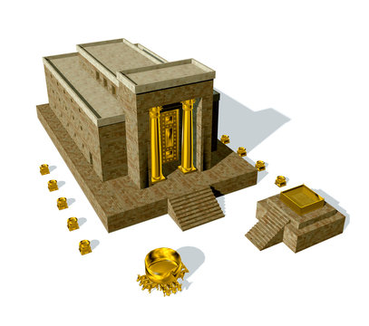 King Solomon Temple isolated on white background