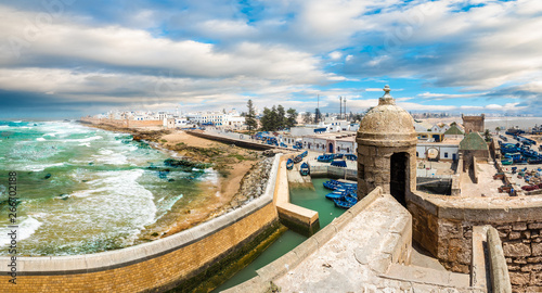 Wall mural Landscape with old fortress and fishing port of Essaouira, Morocco