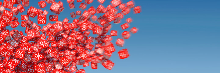 Exploding discount cubes with percent sign in front of blue sky