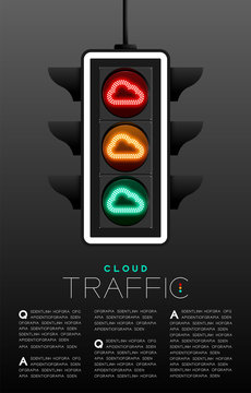 LED Traffic Light with Cloud symbol, Technology online server concept poster or flyer template layout design illustration isolated on grey gradients background with copy space, vector eps 10
