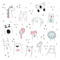 cute unicorn, llama, lion, bear, cat, elephant, giraffe, doodle cartoon vector illustration