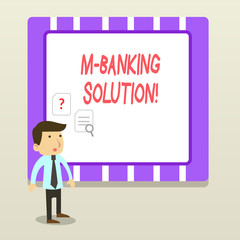 Handwriting text M Banking Solution. Conceptual photo accessed banking through an application on the smartphone