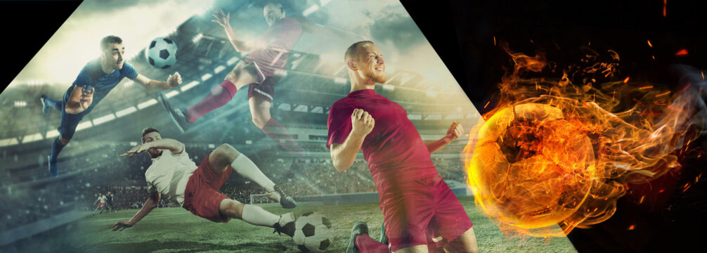 Close up soccer ball in fire on dark background in front of football players of red and blue team fighting for the goal. Creative collage. Movement, action, moving, sport and healthy lifestyle.