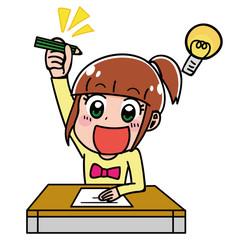 テストの問題を解く女の子のイラスト(冬)