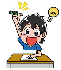 テストの問題を解く男の子のイラスト(夏)