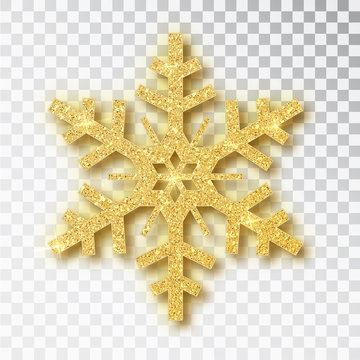 Snowflake made of golden glitter isolated on white background. Vector Christmas or New Year design element.