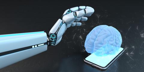 Fototapete - Humanoid Robot Hand Smarthone Human Brain