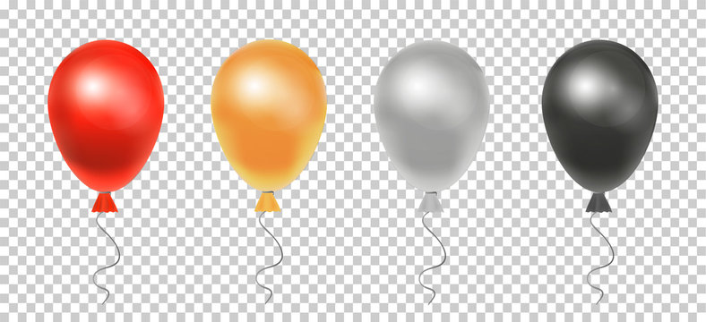 Set of realistic balloons. Balloons on a transparent background. Vector illustration.